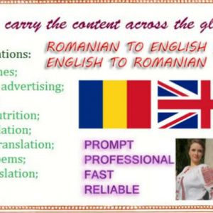 I will translate 1000 words English to Romanian and viceversa